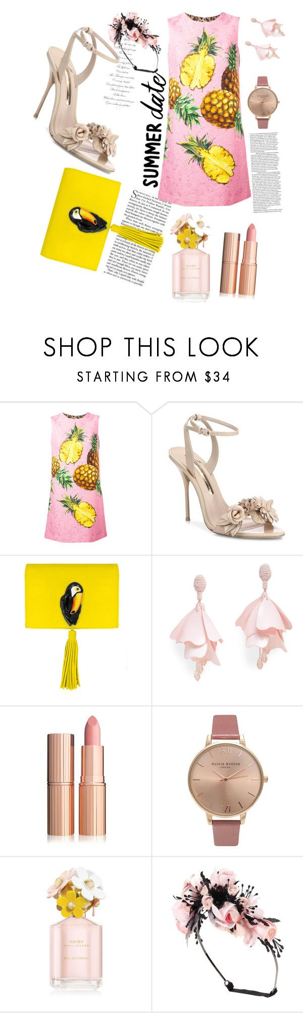 """Girly"" by namira-hauda-azlin on Polyvore featuring Dolce&Gabbana, Sophia Webster, Nach Bijoux, Oscar de la Renta Pink Label, Olivia Burton, Marc Jacobs and Gucci"