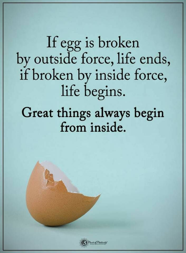 Quotes If egg is broken by outside force, life ends, if broken by inside force, life begins. Great things always begin from inside.