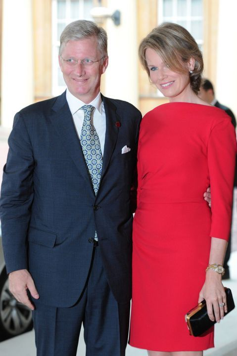 Prince Philippe and Princess Mathilde of Belgium arrive for a pre Olympic dinner hosted by Queen Elizabeth.