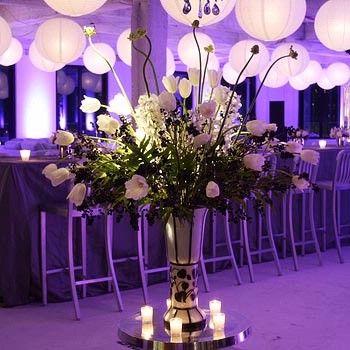 Purple Wedding Theme Centerpiece And Paper Lanterns
