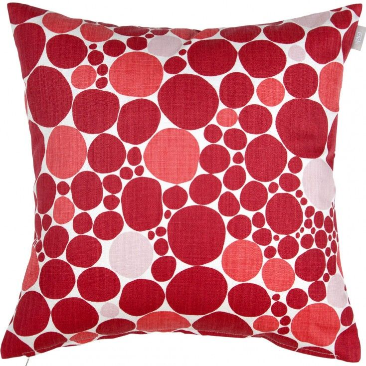 "Spira Bubbla Red Cushion Cover from Hus & Hem.  ""We're forever plumping cushions, pretty cushions on a chair"" - Spira of Sweden's jolly red Bubbla cushion will add a pop of Nordic pattern to any home.  Mix and match the raspberry red, warm coral and powder pink Bubbla with Spira's complimentary Dotte and Maskros cushions to create a colour happy Scandinavian home."