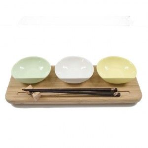 Bamboo Sushi Board & partners - Handcrafted. Suitable for sushi or dips. Available at sourced4you.com.au