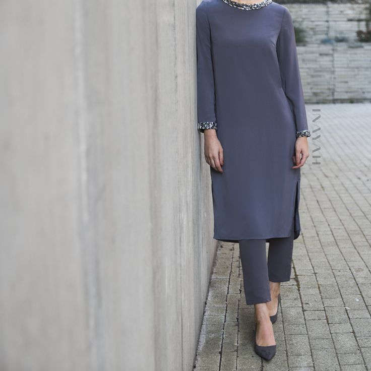 INAYAH | Minimal embellishment coupled with contemporary cuts to exude contemporary class and high-fashion - Charcoal #Midi with #Embellishment + Grey Straight Leg #Trousers - www.inayah.co