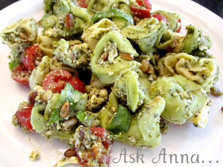 Basil Pesto Pasta Salad - Ask Anna: Basil Pesto Salad Askanna, Anna Recipe, Shrimp Basil Pasta Salad, Salad Recipe, Guacamole, Basil Pesto Pasta Salad, Cooking, Nom Nom, Healthy Yum