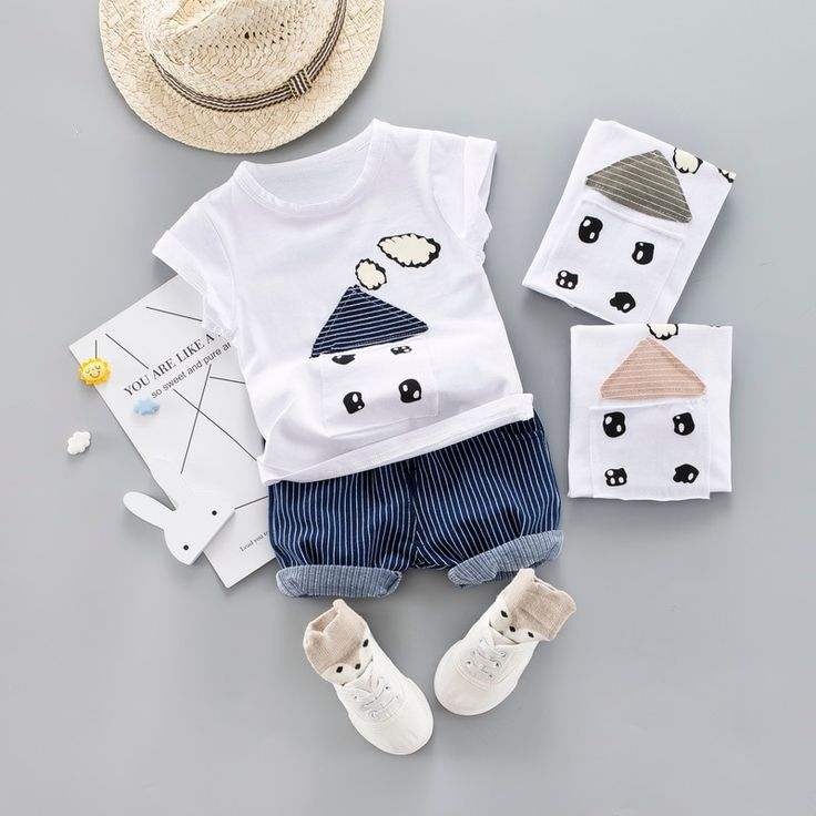 f6815f4d4 Cute Infant Baby Boy Applique T-shirt Tops+Pants Outfit baby boy Clothes Set