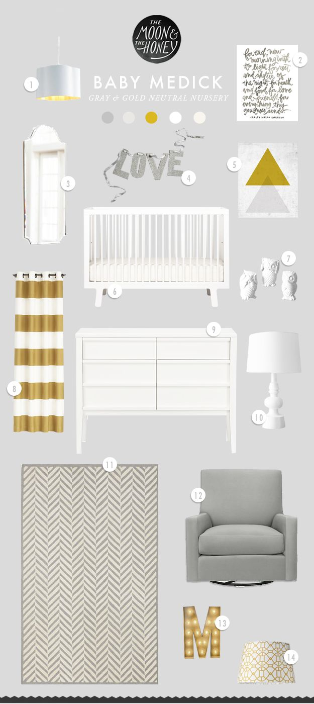 Baby Medick Gray and Gold Nursery Inspiration | The Moon & The Honey