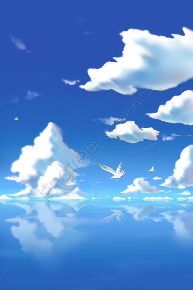 Hand Painted Blue Sky Maritime White Clouds Cloud Sky Seagull Illustration Image On Pngtree Free Download On Pngtree Sky Anime Image Illustration Cloud Illustration