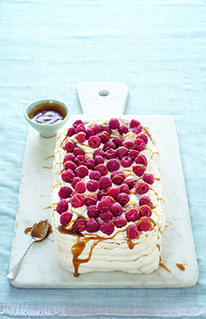Pistachio and Raspberry Pavlova with Butterscotch Sauce by Mary Berry