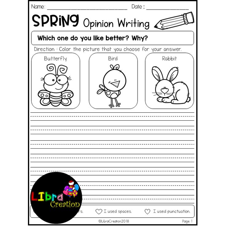 Spring Writing Prompts This set is great for your early writers to practice on writing prompts, opinion writing and picture prompts or struggling writers in kindergarten and in first grade to build confidence in writing. This set includes: - 10 Pages of Writing Prompts - 10 Pages of Opinion Writing - 10 Pages of Picture Prompts - 5 Additional Writing Paper for students who like to write more.
