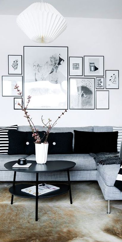 This place does not contain any expensive design pieces, but still manages to look stylish and cool. Notice the simplicity and fine use of black and white combination here with some nice decor ideas!  ---------------------- #gallery #wall #home #decor #living #room #decoration #design