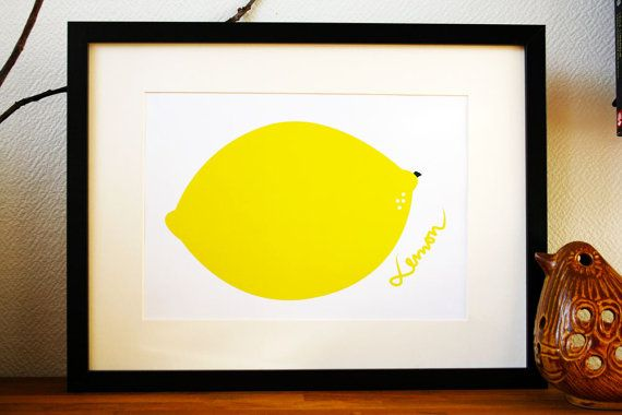 Graphic Art Print poster of a Lemon with text yellow by Ramalamb