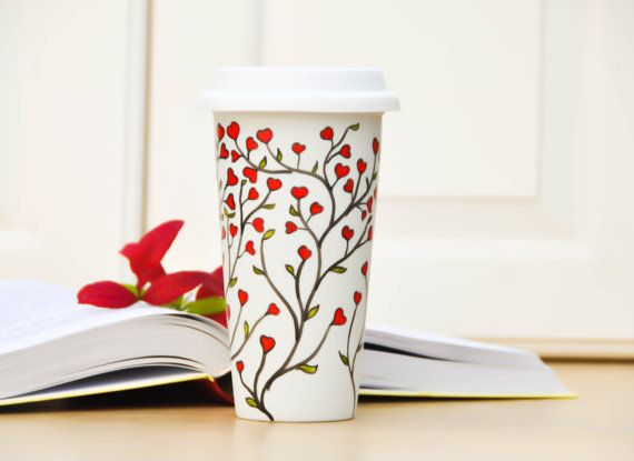 White Ceramic Travel Mug Red hearts eco cup by PictureInADream