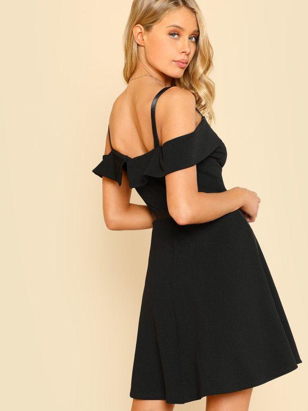 0b316a83d14 Fold Over Cold Shoulder Belted Dress -SheIn(Sheinside)