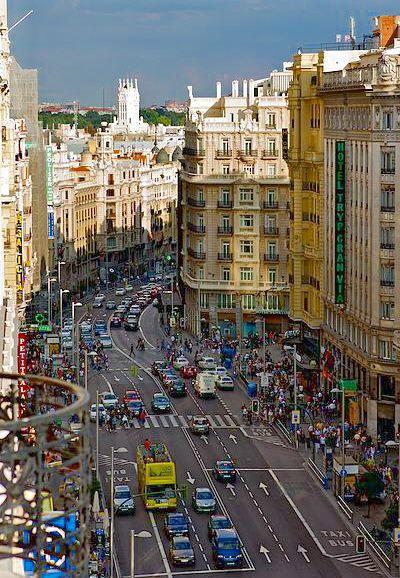 Gran Vía bustles with activity. Madrid