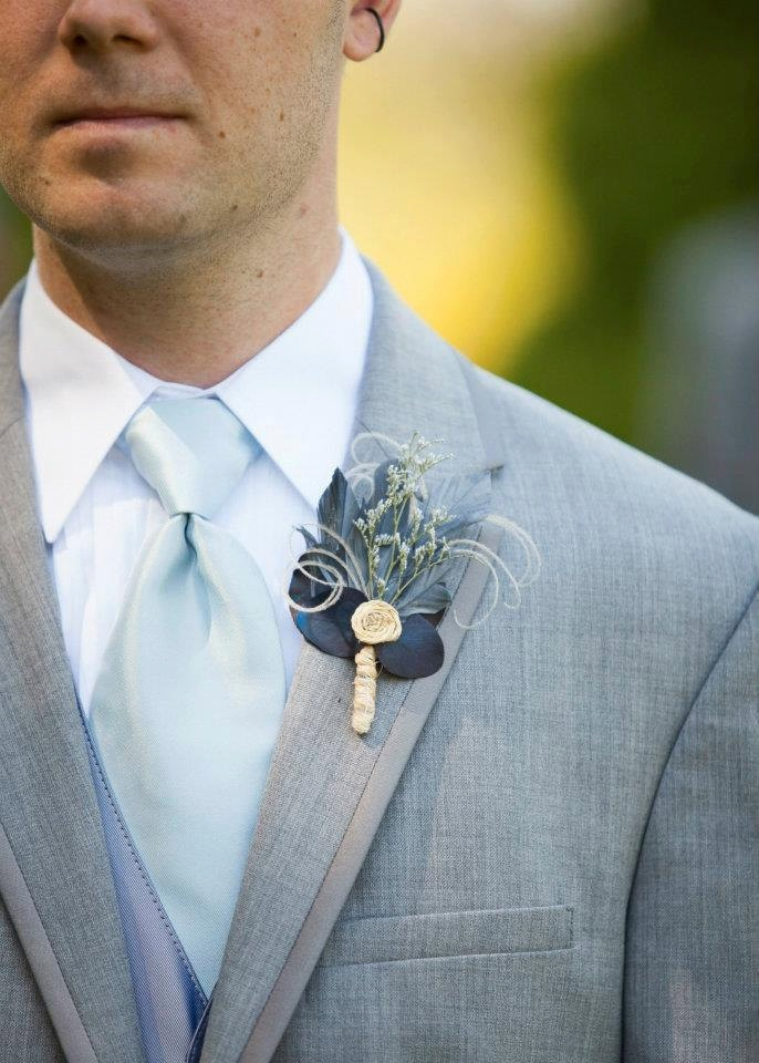 Rustic Wedding Boutonnieres -Set of 5 Blue Feather. $52.00, via Etsy.