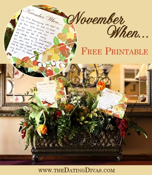 A beautiful printable designed to allow you and your loved ones to reminisce on previous November memories. #thanksgiving