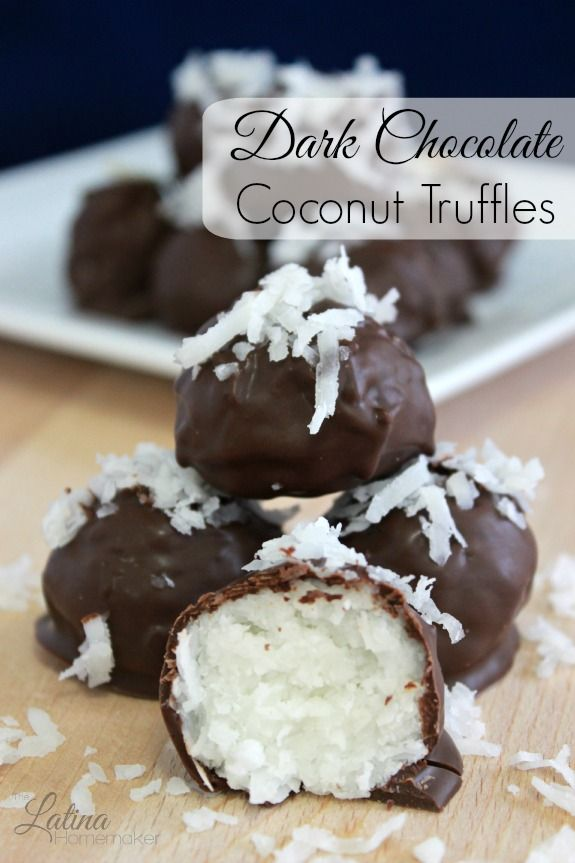 Dark Chocolate Coconut Truffles. An easy and simple recipe that combines coconut and dark chocolate for a deliciously rich and healthy treat.