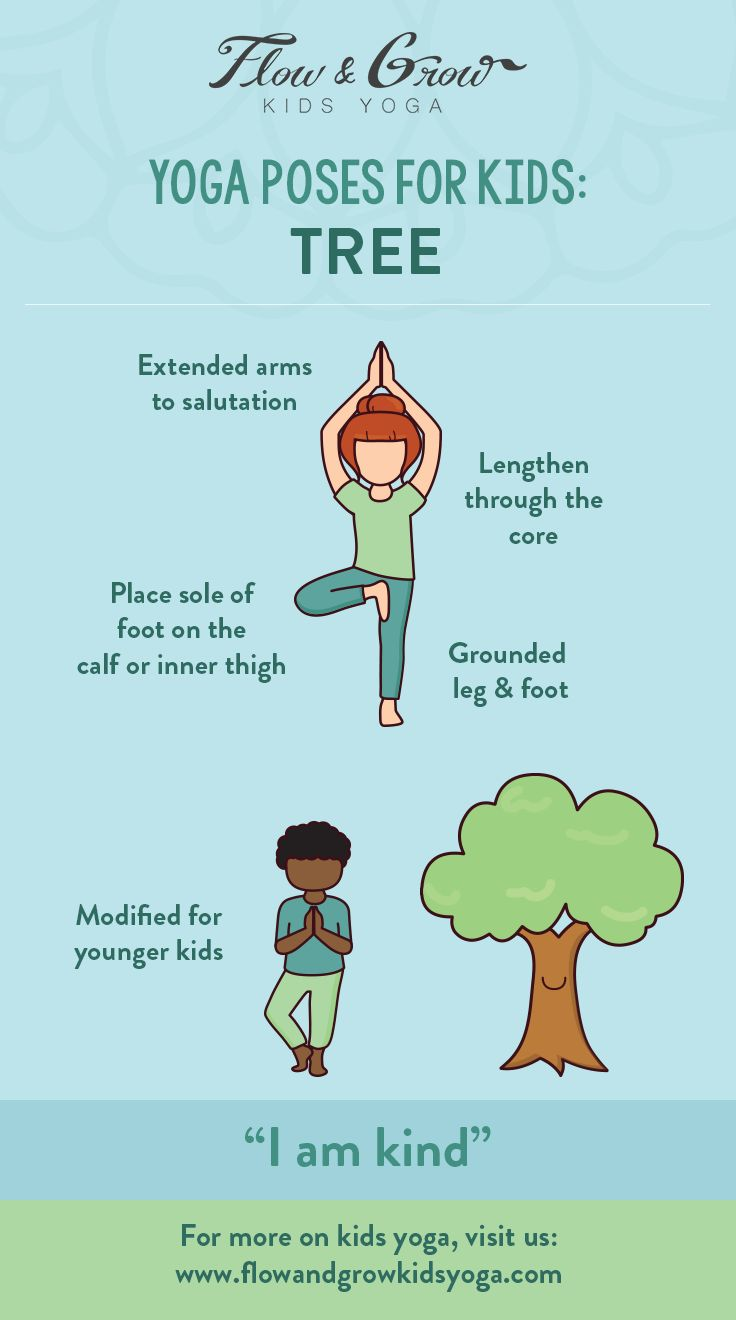 Yoga Poses for Kids - Tree Pose. Tall, grounded and strong - the mighty Tree benefits our world in many ways. The tree is kind to the world, animals and to humans. Through this pose, it is great to teach kids about kindness - how to be kind to others and to the environment.