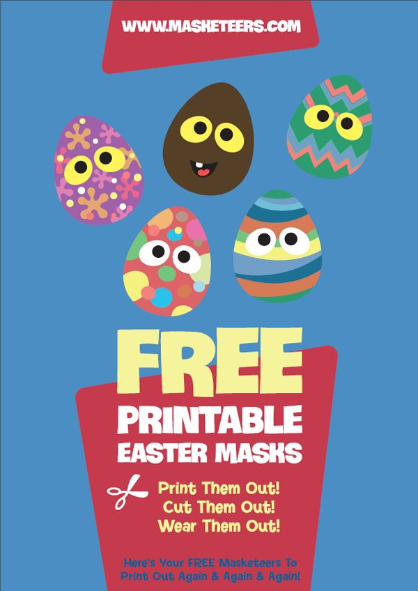 FREE Easter Egg Masks... Here's some freebie Easter Egg Masks! They come with both a colour and a template version that kids can colour, and there's also a plain one for them to create their own design.  Happy Easter :)