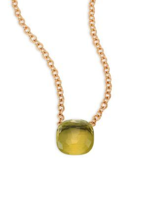 POMELLATO 18K Rose Gold Lemon Quartz Pendant Necklace. #pomellato #