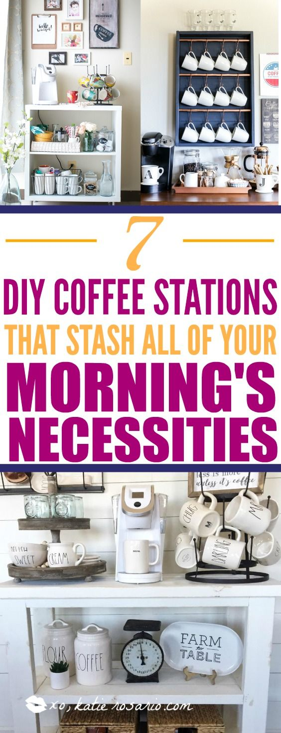 7 DIY Coffee Station Hacks That Will Step Up Your Coffee Game: I love coffee and I am embarrassed to say that I spend a lot at Starbucks because of it! This is exactly what I need. I love these DIY coffee stations. I would much rather spend $50 on building a new coffee bar than on a few cups of coffee. This is so simple I can't believe I didn't think about it before! Create your own coffee station that has everything you need in one place except for the milk lol! I love having...