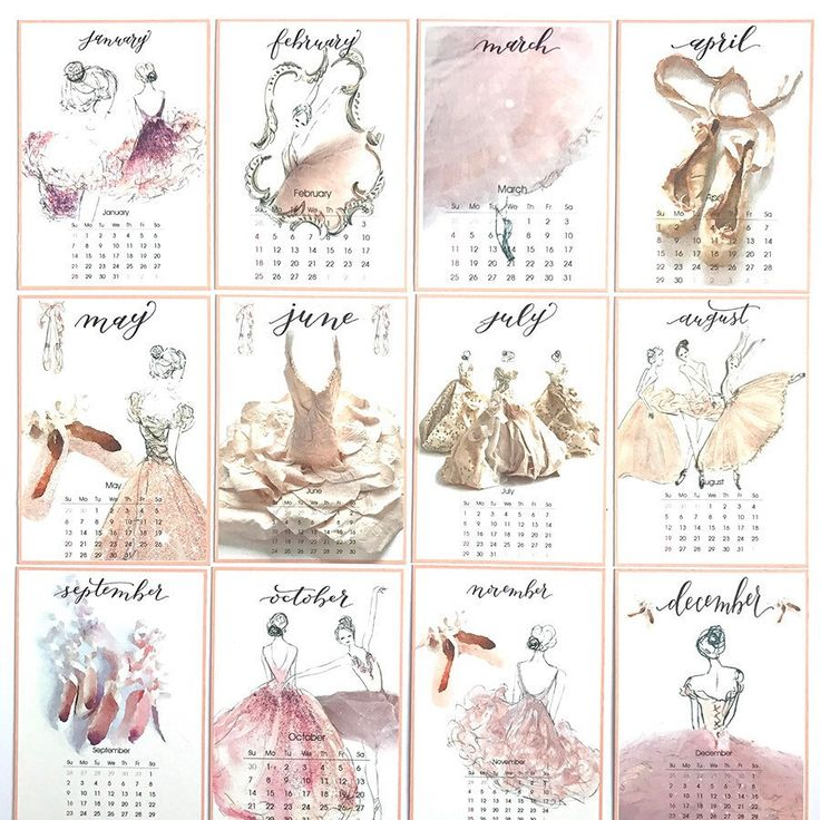 2018 Desk Calendars now in stock - the perfect gift to brighten up any desk - complete with wooden easel and 12 artworks of Ballerinas by Cora Pearl Design
