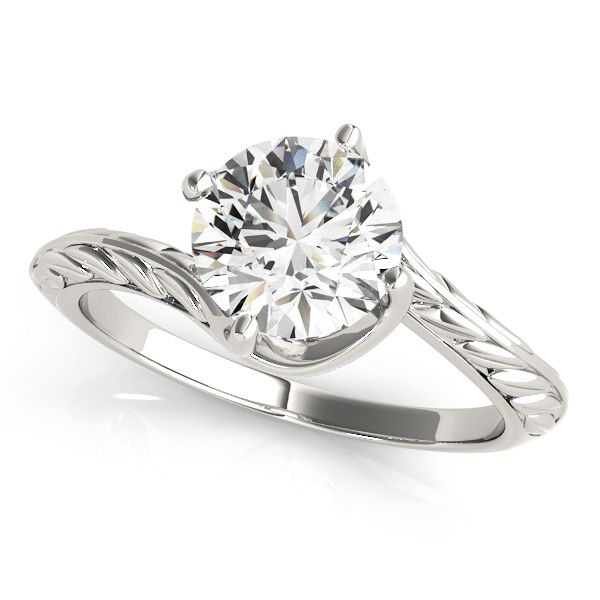 ''Essential'' Fine Vintage Diamond Engagement Ring with Hand-Made Engraving Swirl Solitaire Engraved Engagement Ring