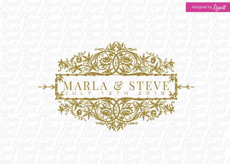 vintage wedding monogram-wedding logo-wedding crest-custom wedding monogram-signo-monograma-monograma de la boda-signo de la boda- by Linvit on Etsy