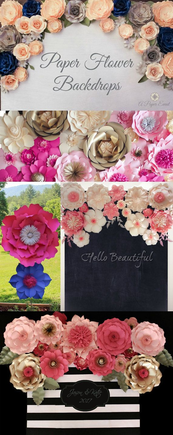 Kate Spade Inspired Paper Flower Backdrop Wedding by APaperEvent
