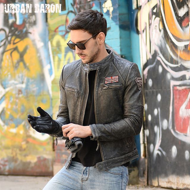FREE SHIPPING 2017 New Men Vintage Leather Motorcycle Jacket Genuine Cowskin Black Stand Collar Slim Fit Men Winter Biker Coat
