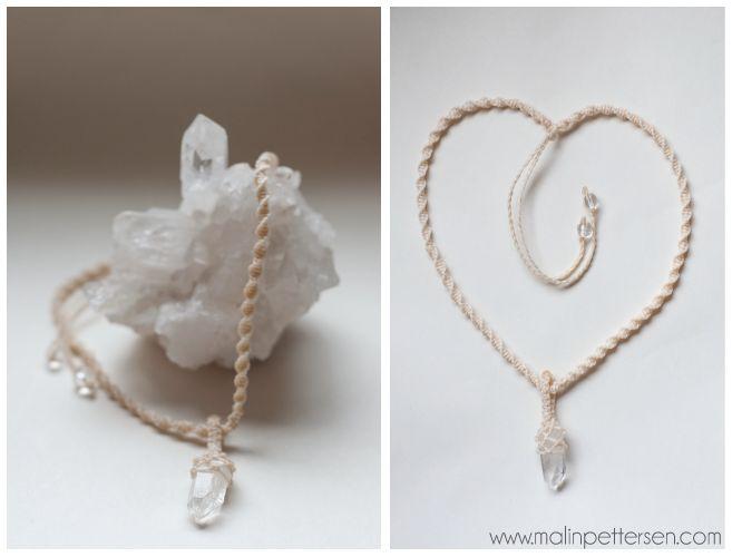 simple macramé necklace with quartz.  http://www.malinpettersen.com/smykker.html
