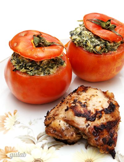 creamed spinach stuffed tomatos