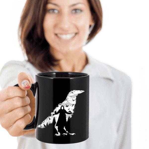 The Crow Mug, Crow Bird Mug, Crow Gift Coffee Mug