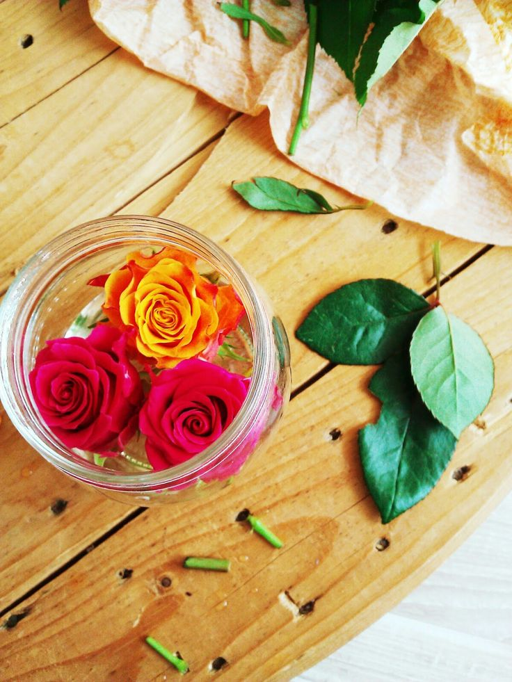 Roses in a glass jar.