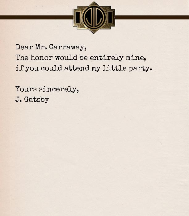 Jay Gatsby's invitation letter to Nick Carraway inspired by The Great Gatsby movie 2013
