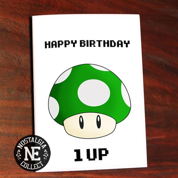 Happy Birthday Card  1 Up Green Mushroom  Gift by Nostalgia Collect
