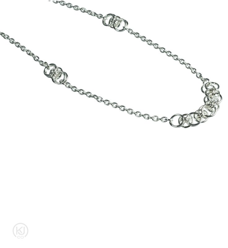 """Aylin - Helm Weave Lite Sterling Silver Necklace – Beautifully crafted and timeless necklace in sterling silver. This necklace is the perfect everyday standalone piece or as part of a layered look. Complete the set by pairing this delicate necklace with its matching Aylin – Helm Weave Lite bracelet and earrings for the finishing touch of elegance.   Sizes: One Size – 45.7cm or 18"""" length  Materials: Sterling Silver  Colour: Silver  Origin: Handcrafted in our Toronto Studio"""