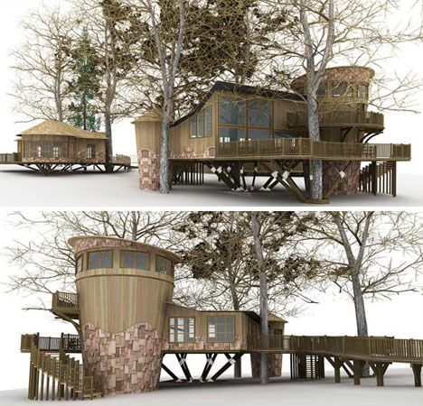 Environmental Education Tree house Center - WebEcoist This lovely tree house design is more than just a picturesque building in the woods, it's an educational center where city children can learn about and connect with the natural environment and understand sustainable design up close. The design includes biomass boiler, solar panels, rainwater collection, a glass roof and other environmentally friendly architectural approaches.