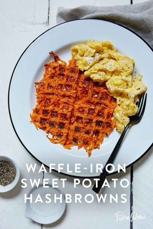 Waffle-Iron Sweet Potato Hash browns. It's a healthy alternative to the regular kind, super delicious and is really easy to make.