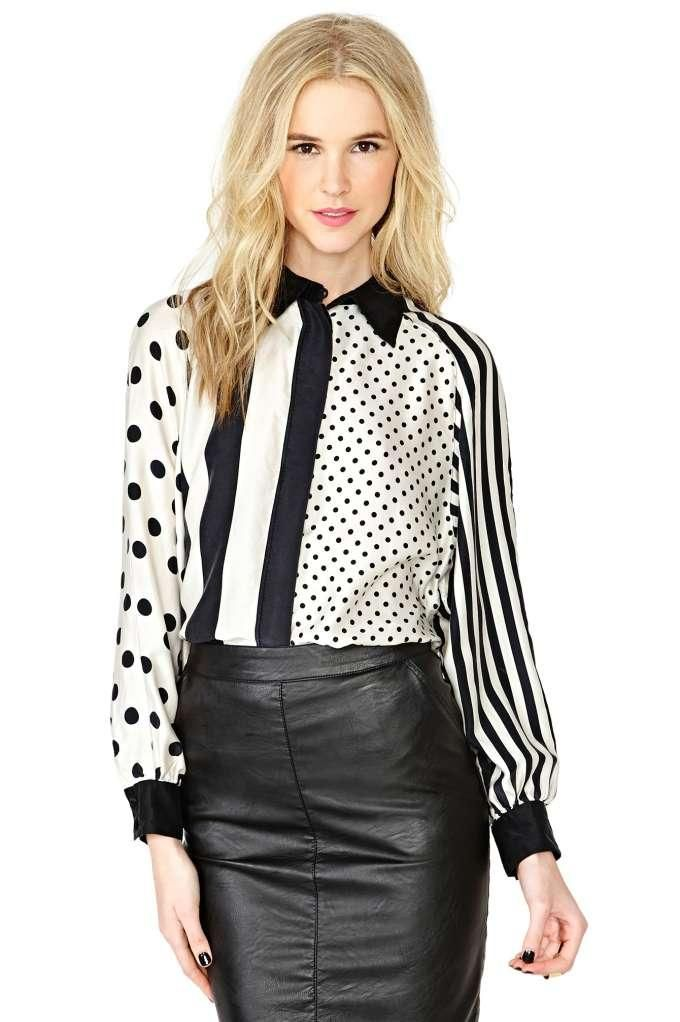 Mixed Messaging Silk Blouse