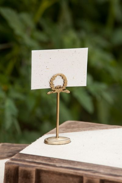 Antique Brass Napoleon Place Card Holder Rustic Display