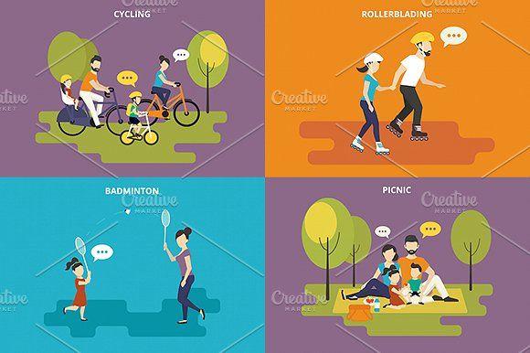 ilustraciones planas familiares conjunto # 6 - Ilustraciones