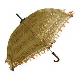 Decorative Green Fringed Umbrella Cotton Ethnic Handcrafted Wedding Parasol Uv