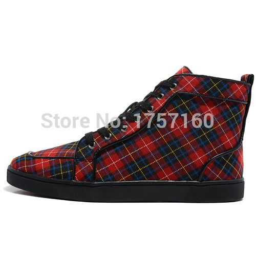2015 semelle rouge hommes chaussures plates hommes TARTAN haute chaussures rouge pour hommes(China (Mainland))
