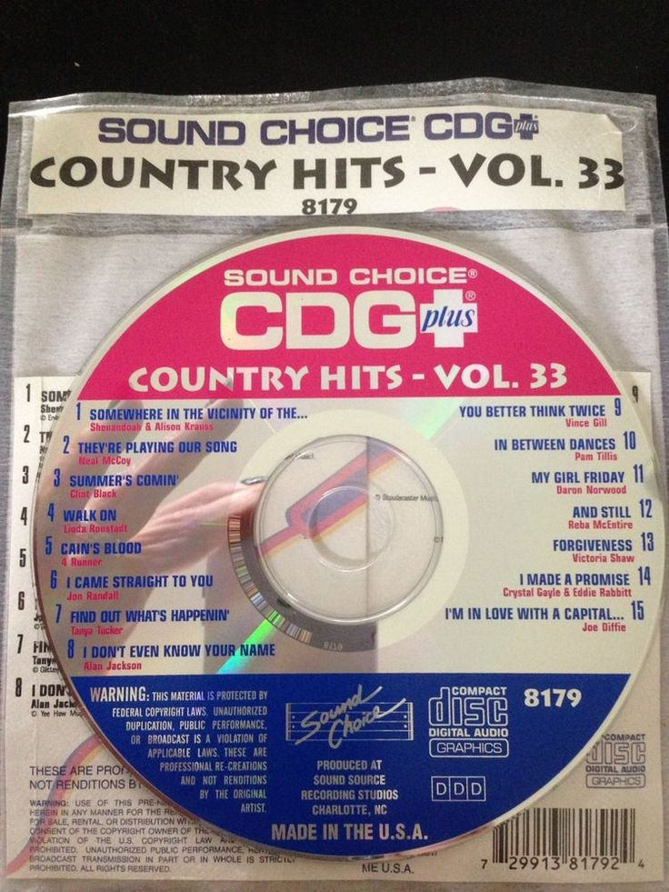 Sound Choice CDG Laser Disc Karaoke #8179 Country Hits Volume #33 #SoundChoice