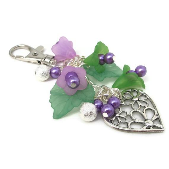 Bag Charm Purple Flowers £5.50