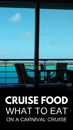 Carnival cruise food: This is a list of some free dining options on a Carnival cruise for what to eat. Some are offered only on sea days, some are also offered when the cruise ship is in port. Cruise food that kids would like too if you're on a cruise with kids! This list includes some tips on cruise food at the buffet, specialty restaurants, some DIY meals, and some healthy cruise food options for healthy meal planning ideas when you travel! Caribbean travel.