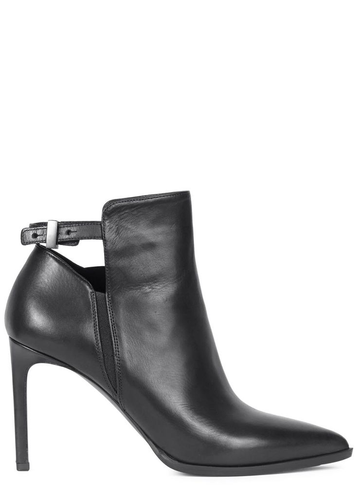 UK exclusive to Harvey Nichols Vince black leather ankle boots Heel measures approximately 4 inches/ 100mm Cut-out back, pointed toe Zip fastening at side