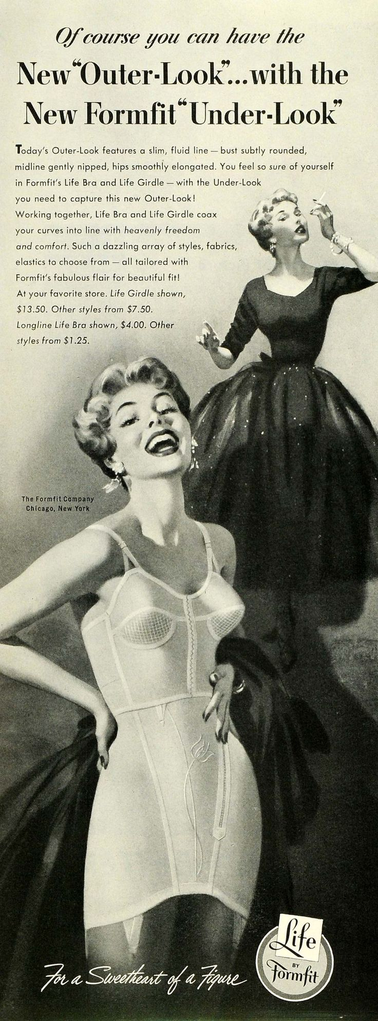 1953 Ad Formfit Life Bra Girdle Undergarments Smoking Women Underwear SEP6 - Period Paper