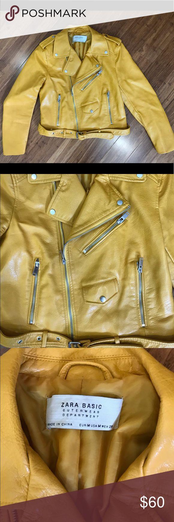 Leather jacket yellow zara - Golden Yellow Zara Faux Leather Jacket